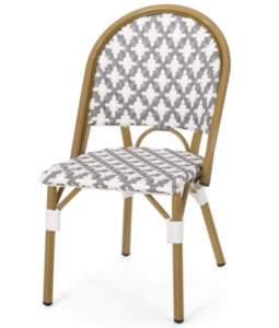 Outdoor French Bistro Gray/white Rattan Dining Chairs
