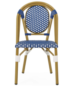 Outdoor French Bistro Blue/white Bamboo Look Dining Chairs