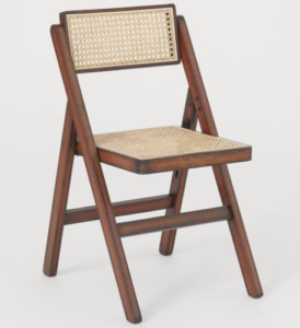 Wooden folding chair with cane seat and back