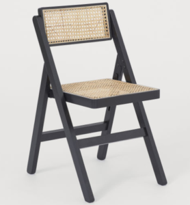 Black wooden folding cane chair