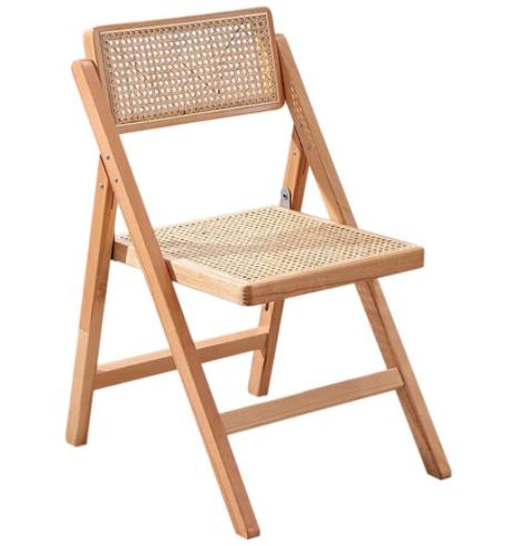 Natural beech wood folding cane chair