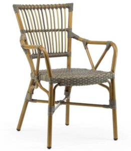 Outdoor French Bistro Gray Rattan Arm Chairs