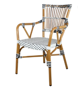 Outdoor French Bistro White/gray Rattan Restaurant Chairs