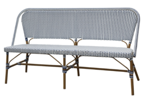 Garden furniture aluminum frame with bamboo finish rattan bistro bench