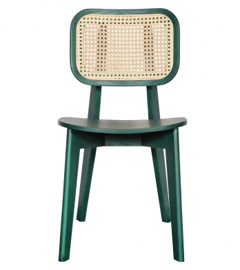 Green lacquer ash wood frame cane back dining chair