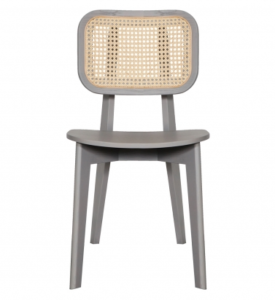 Gray lacquer ash wood frame cane back dining chair