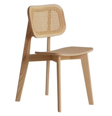 Natural lacquer ash wood frame cane back dining chair