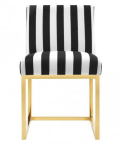 Gold plated stainless steel upholstered dining chair