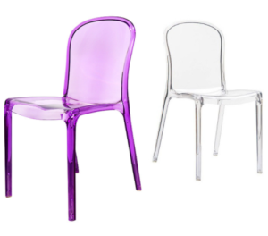Plastic chair purple stackable acrylic chair