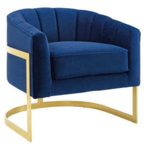 Gold plated stainless steel frame navy blue velvet accent chair
