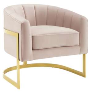 Gold plated stainless steel base beige velvet accent chair