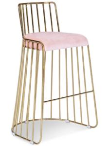 Gold Stainless Steel Pink Upholstered Velvet Bar Stool