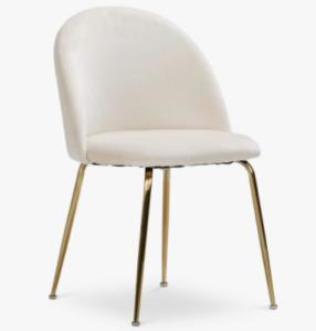Gold legs beige velvet upholstered dining chair