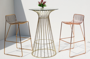 Rose gold electroplated iron wire bar table and stool set