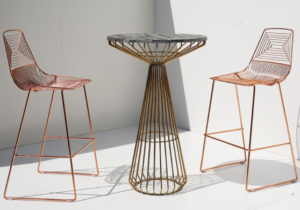 Rose gold electroplated  iron wire cocktail bar table and stool set