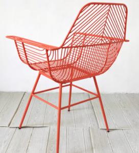 Orange powder coated metal wire dining armchair