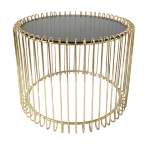 Gold plated metal wire cocktail coffee table