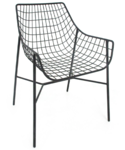 Black powder coated metal wire mesh dining chair