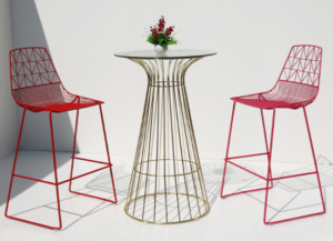 Red powder coated iron wire bar table and stool set