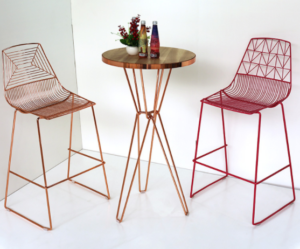 Event rental furniture metal wire bar table and stool set