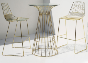 Gold electroplated iron wire bar table and stool set