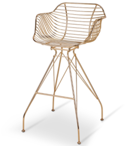 Gold finish wire steel bar chair with arm rest