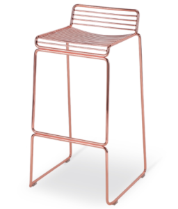 Rose gold finish wire steel stackable bar chair