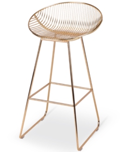 Gold finish metal wire bar chair