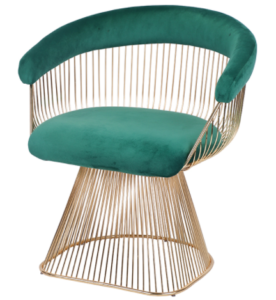 Luxury Green Velvet Velvet Upholstered Dining Chair With Gold Plating