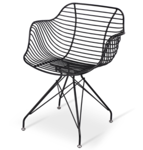 Black powder coated metal wire dining armchair