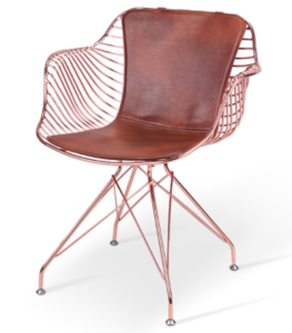 Rose Gold Armchair Metal Wire Dining Chair With PU Cushion
