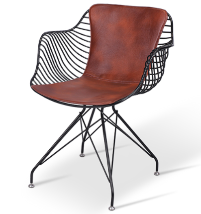Black Powder Coated Armchair Metal Wire Dining Chair With PU Cushion