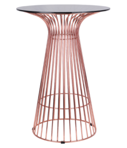 Good Quality Glass Top Metal Wire Round High Bar Table