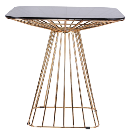 Glass Top And Gold Wire Base Square Dining Table