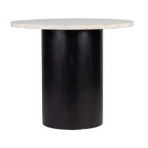 Terrazzo top with black round metal base cafe table