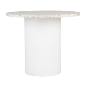 Terrazzo top with white round metal base cafe table