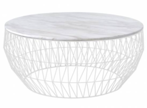 White marble top with metal wire base round coffee table
