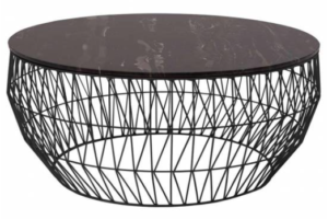 Black marble top with metal wire base round coffee table