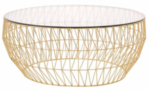 Clear glass top with gold metal wire base round coffee table