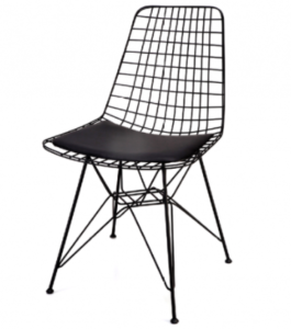 Metal Wire Black Painted Cafe Restaurant Wire Chair
