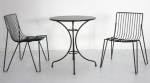 Black powder coated metal wire bistro cafe table and chair set