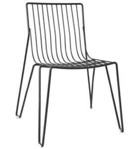 Black powder coated metal wire bistro cafe chair