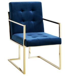 Brass gold stainless steel frame velvet upholstered dining armchair