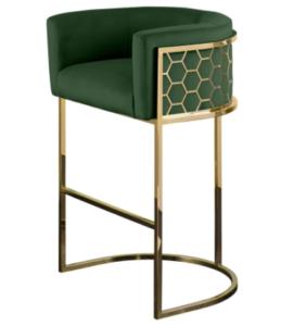 Modern high quality stainless steel frame upholstered bar stool high chair