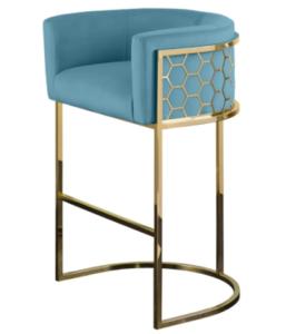 High quality stainless steel frame blue velvet upholstered bar stool high chair