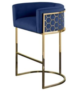 Bar furniture stainless steel frame navy blue velvet upholstered bar stool high chair