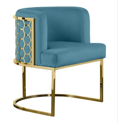 Modern dining chair stainless steel frame Laser cutting on back velvet upholstered dining chair
