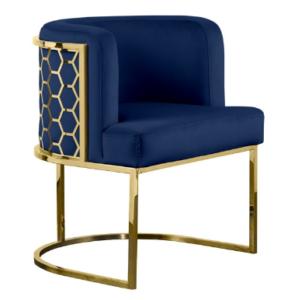Stainless steel frame Laser cutting on back navy blue velvet upholstered dining chair