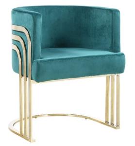 Luxury design stainless steel emerald green velvet upholstered dining chair for hotel