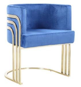 Luxury design stainless steel blue velvet upholstered restaurant chair